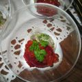 TARTARE D'HUITRES,SORBET DE BETTERAVES ROUGES[...]