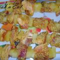 Brochettes de porc curry ananas coco